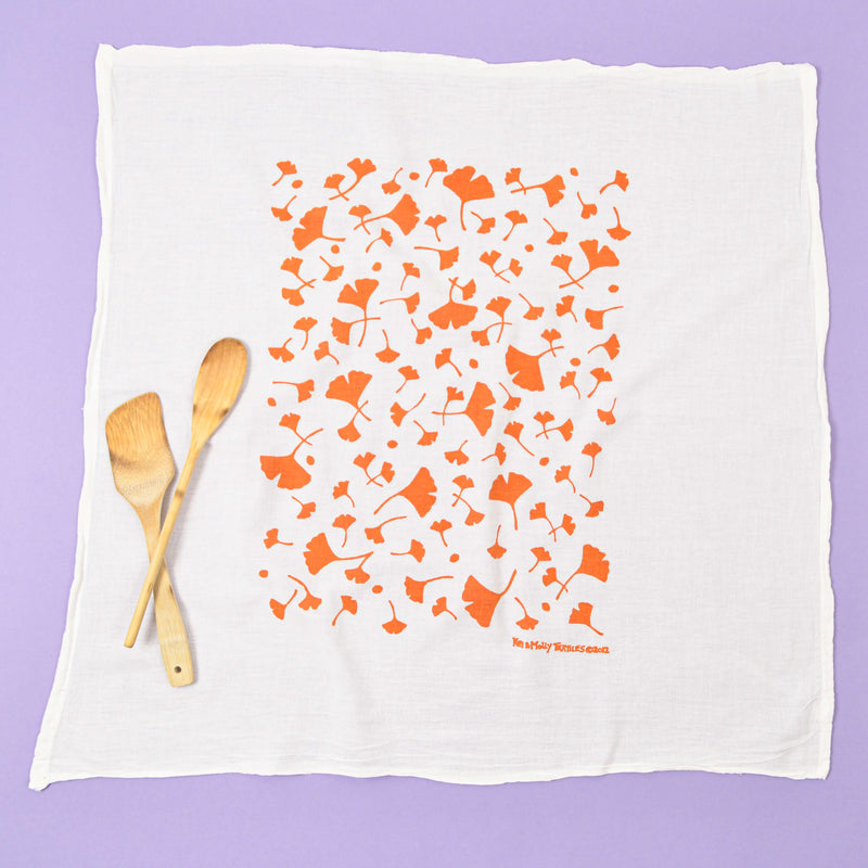 Kei & Molly Ginko Flour Sack Dish Towel in Orange Full View