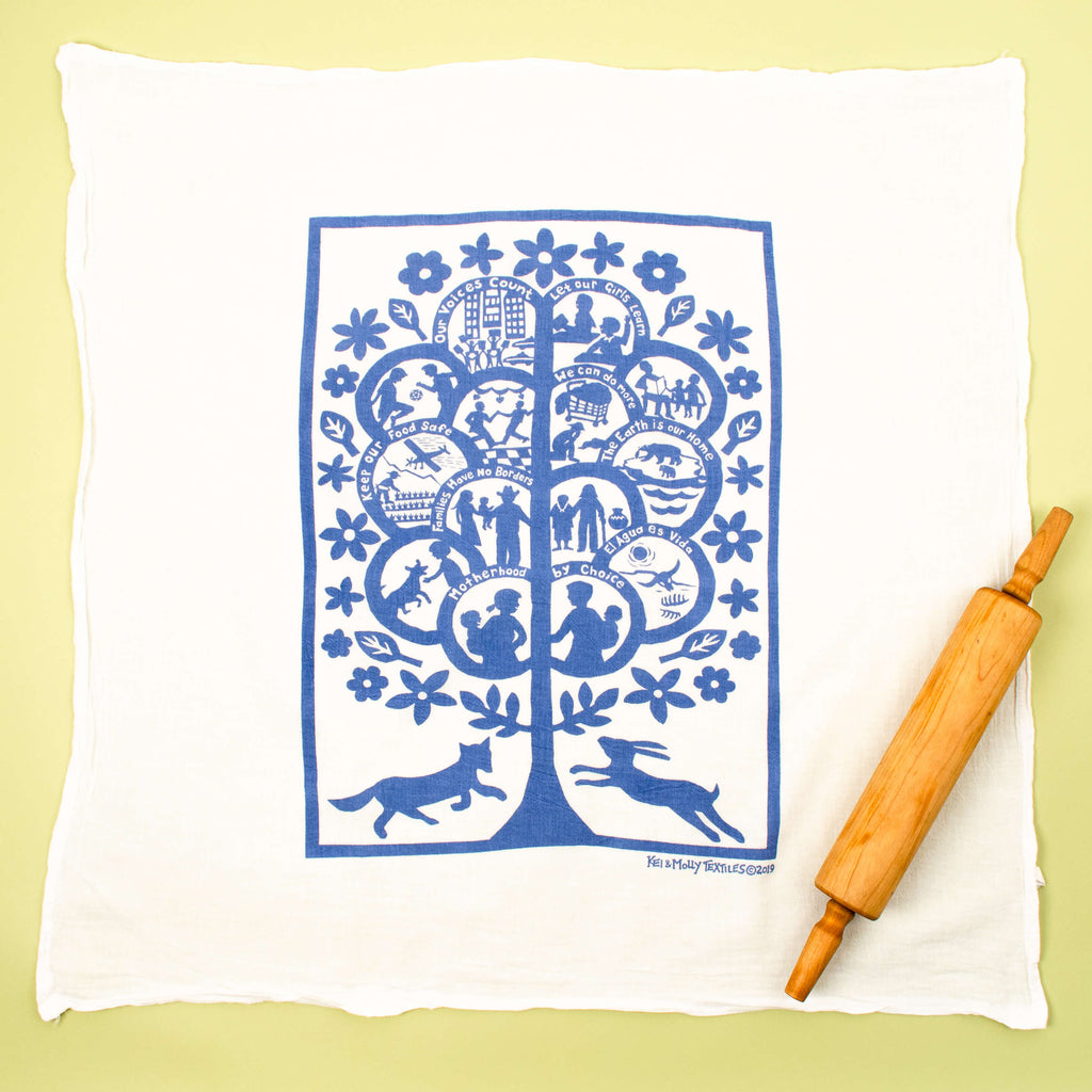 Kei & Molly Global Tree Flour Sack Dish Towel in Steel Blue Full View