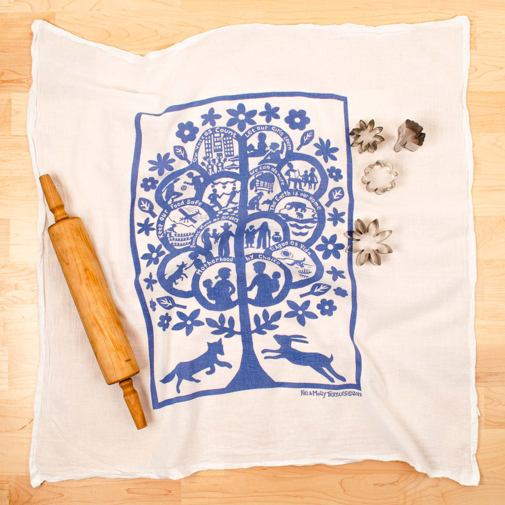 Kei & Molly Global Tree Flour Sack Dish Towel in Steel Blue with Props