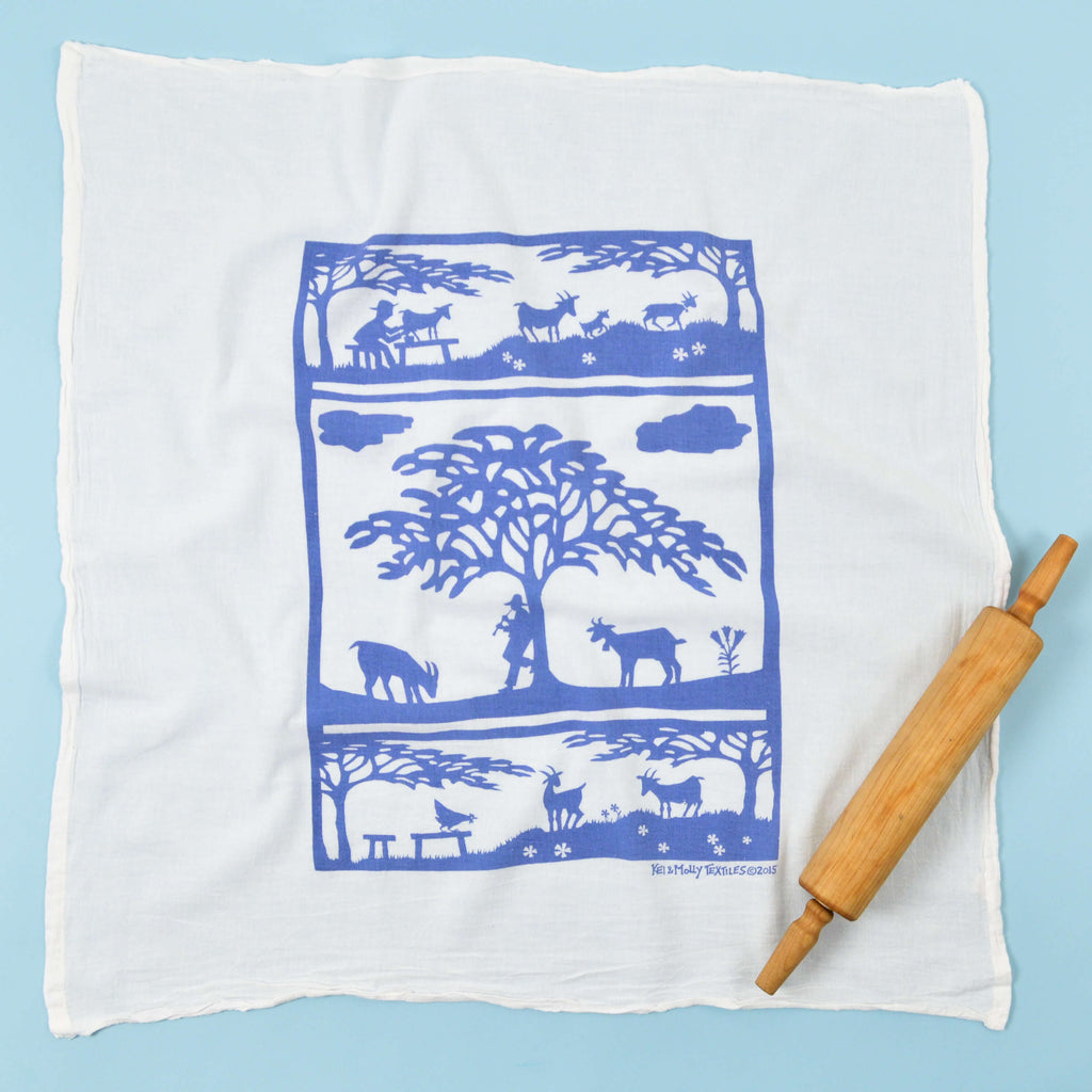 Kei & Molly Goats Flour Sack Dish Towel in Steel Blue Full View