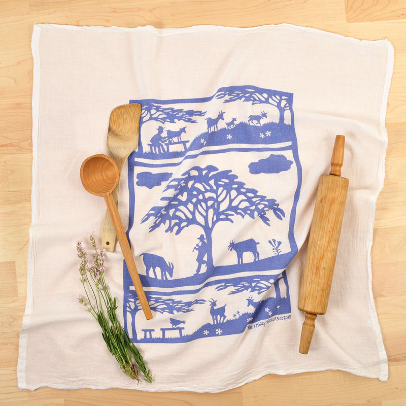 Kei & Molly Goats Flour Sack Dish Towel in Steel Blue with Props