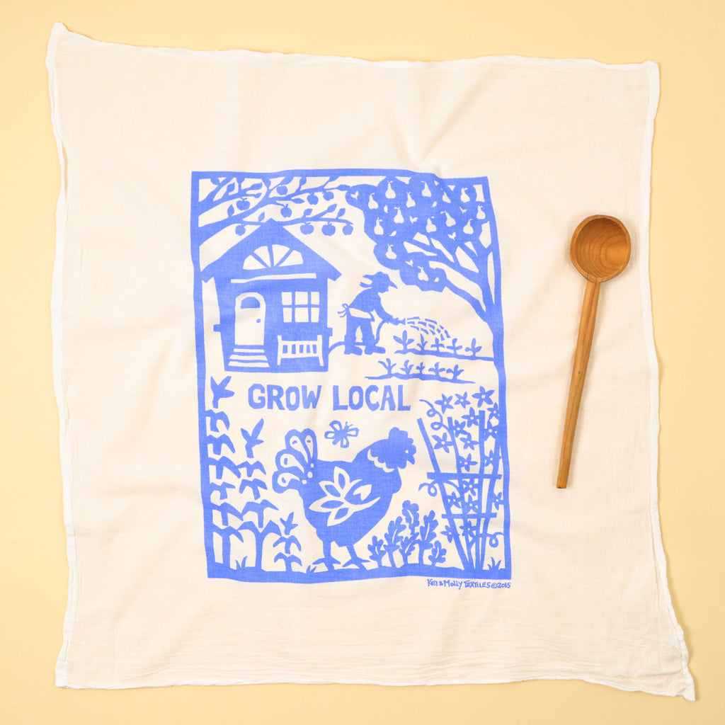 Kei & Molly Grow Local Flour Sack Dish Towel in Sky Blue Full View