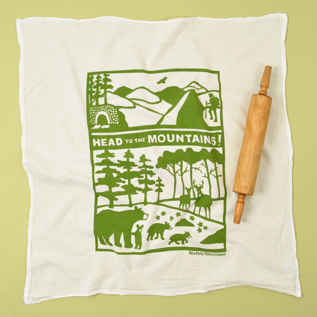 Kei & Molly Head to the Mountains Flour Sack Dish Towel in Green Full View