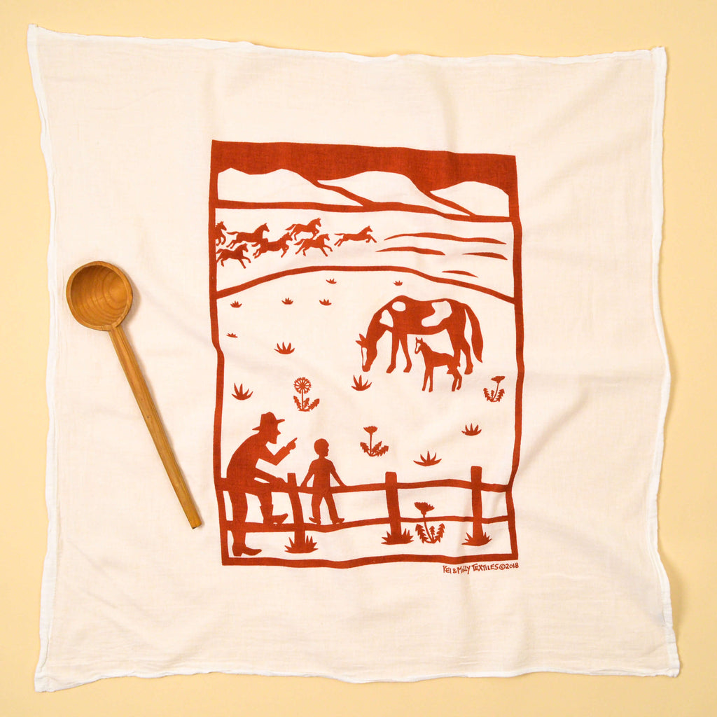 Kei & Molly Horses Flour Sack Dish Towel in Rust Full View