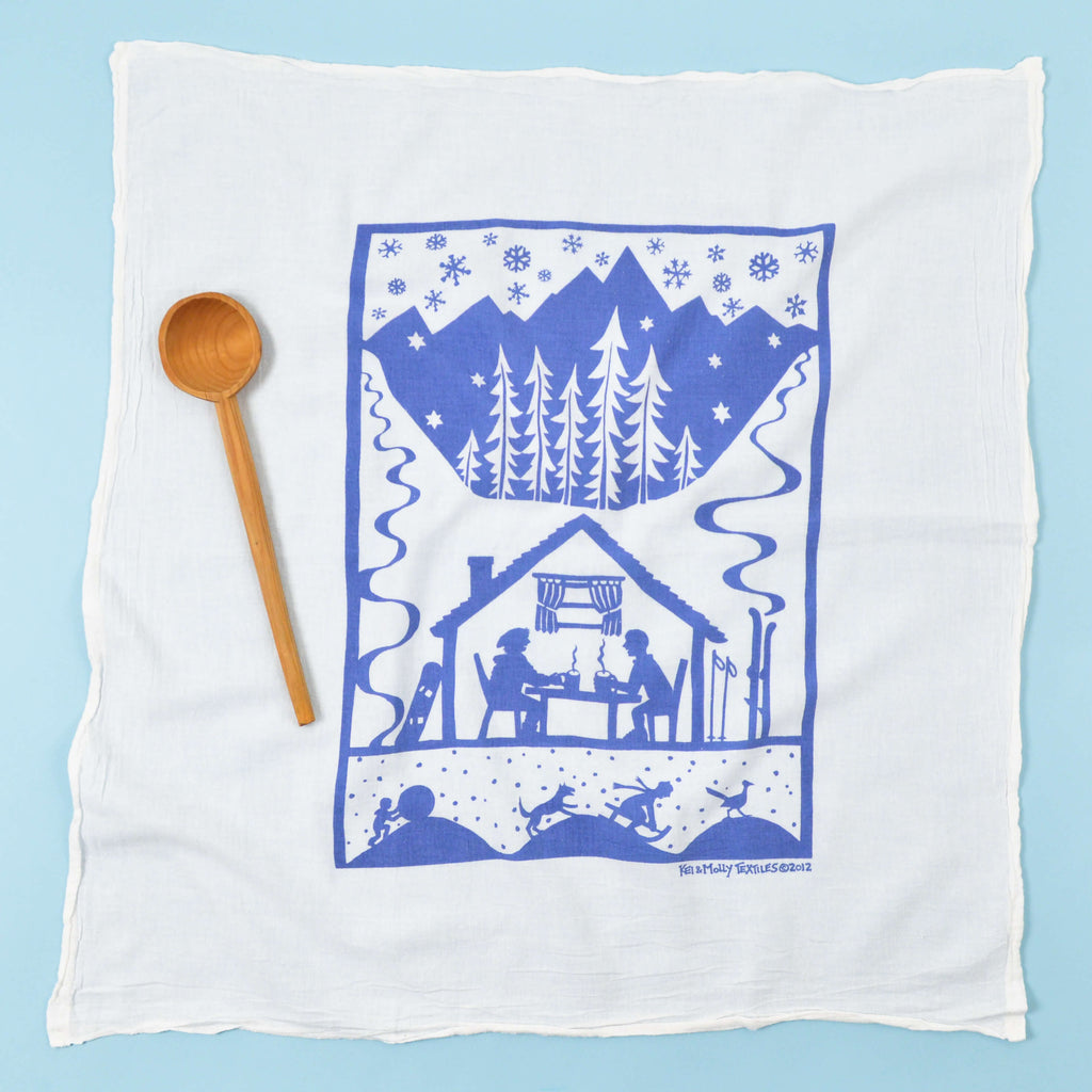 Kei & Molly Hot Cocoa Flour Sack Dish Towel in Steel Blue Full View