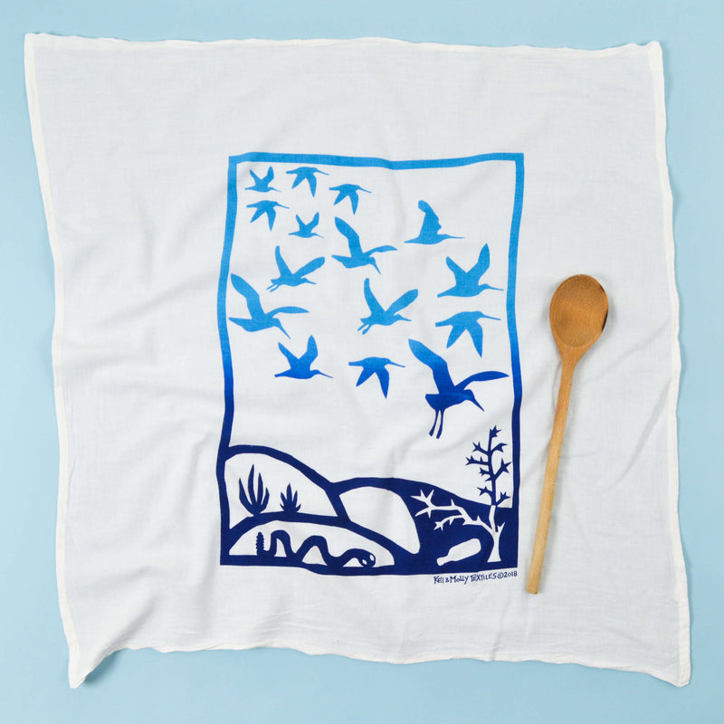 Kei & Molly Immigration/Migration Flour Sack Dish Towel in Two Tone Blue with Props