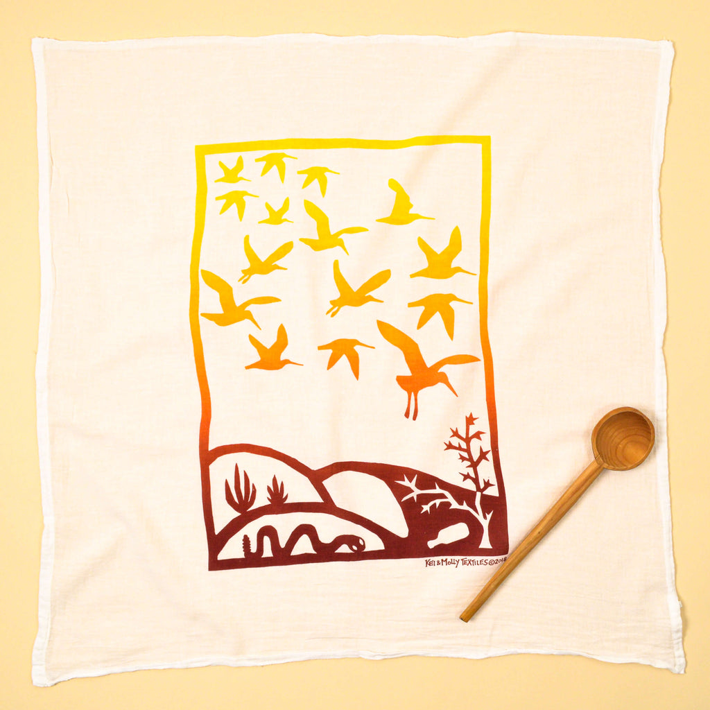 Kei & Molly Immigration/Migration Flour Sack Dish Towel in Two Tone Yellow Full View