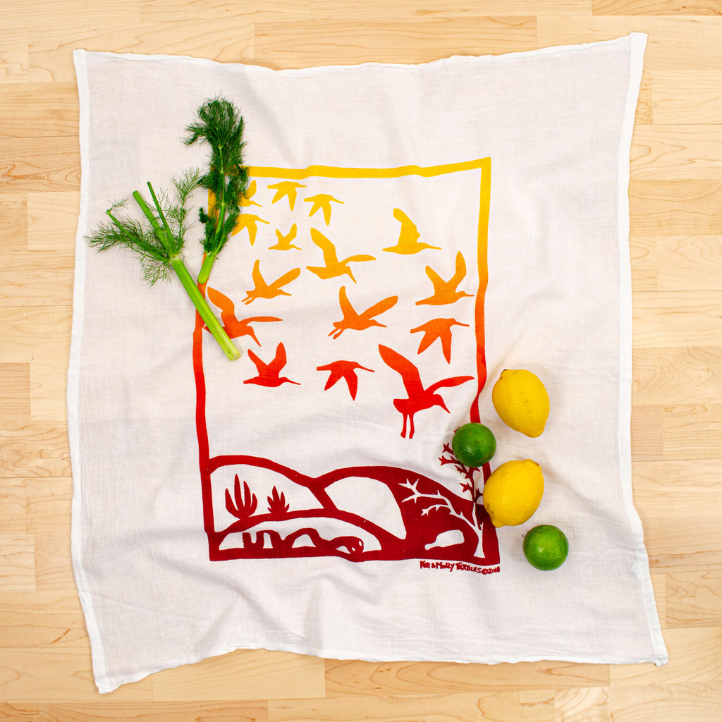Kei & Molly Immigration/Migration Flour Sack Dish Towel in Two Tone Yellow with Props