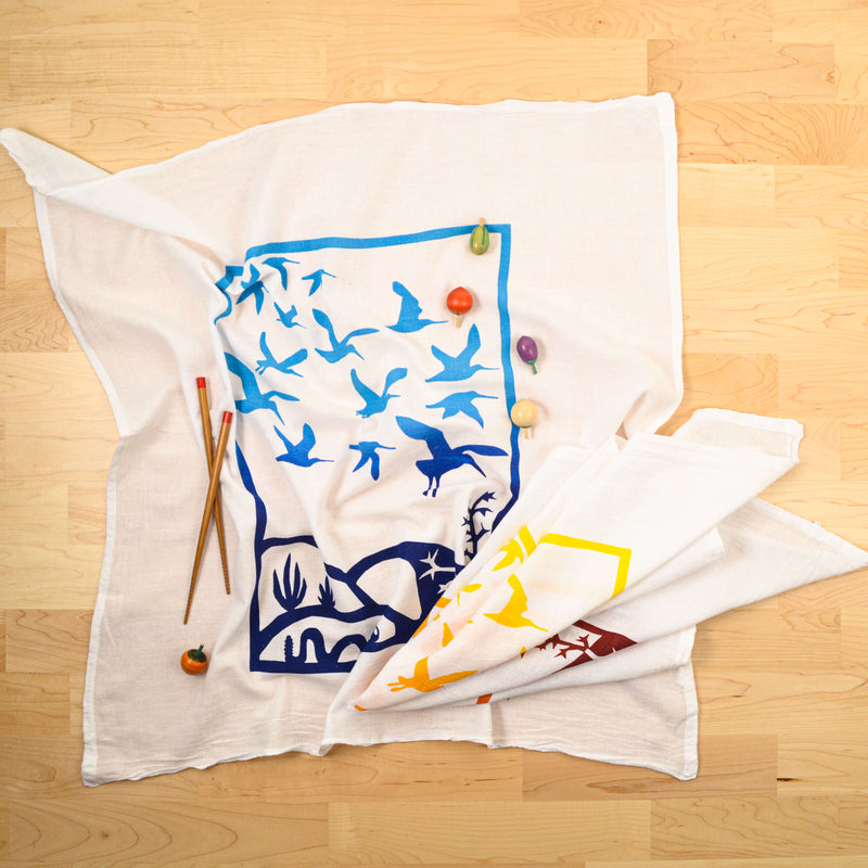 Kei & Molly Immigration/Migration Flour Sack Dish Towel in Two Tone Yellow and Blue with Props