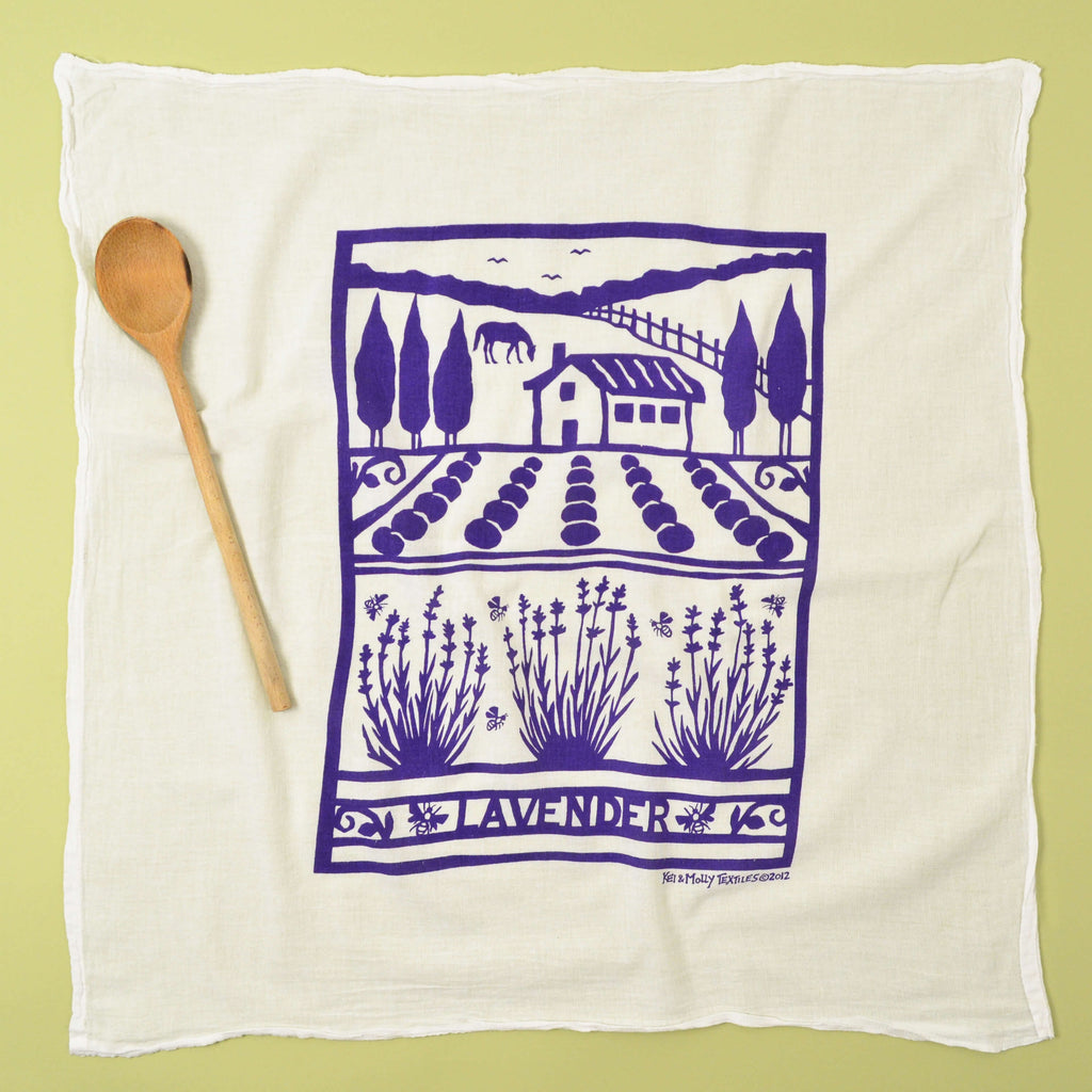 Kei & Molly Lavender Farm Flour Sack Dish Towel in Purple Full View