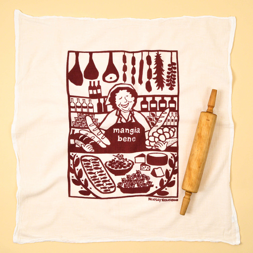 Kei & Molly Mangia Bene Flour Sack Dish Towel in Wine Red Full View