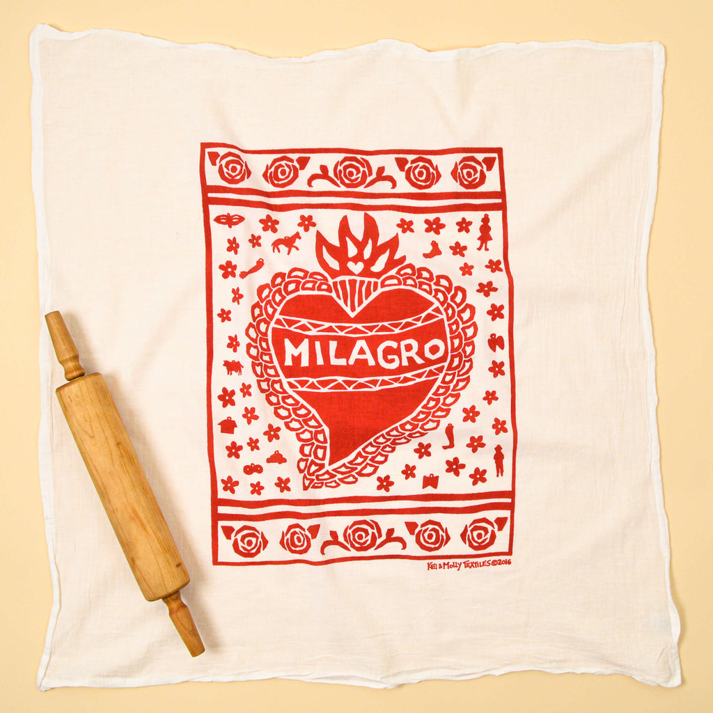 Kei & Molly Milagro Flour Sack Dish Towel in Red Full View