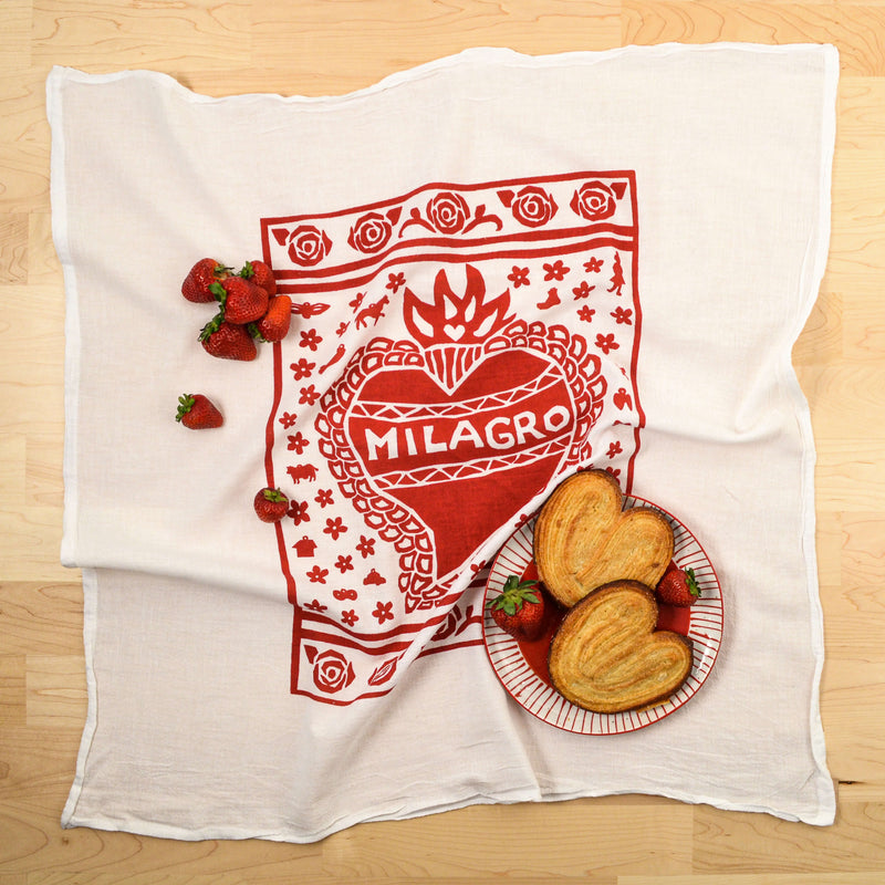 Kei & Molly Milagro Flour Sack Dish Towel in Red with Props