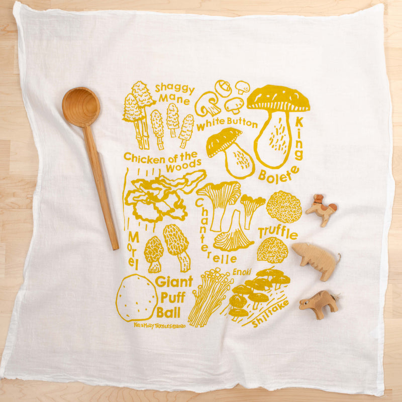 Kei & Molly Mushrooms Flour Sack Dish Towel in Gold with Props