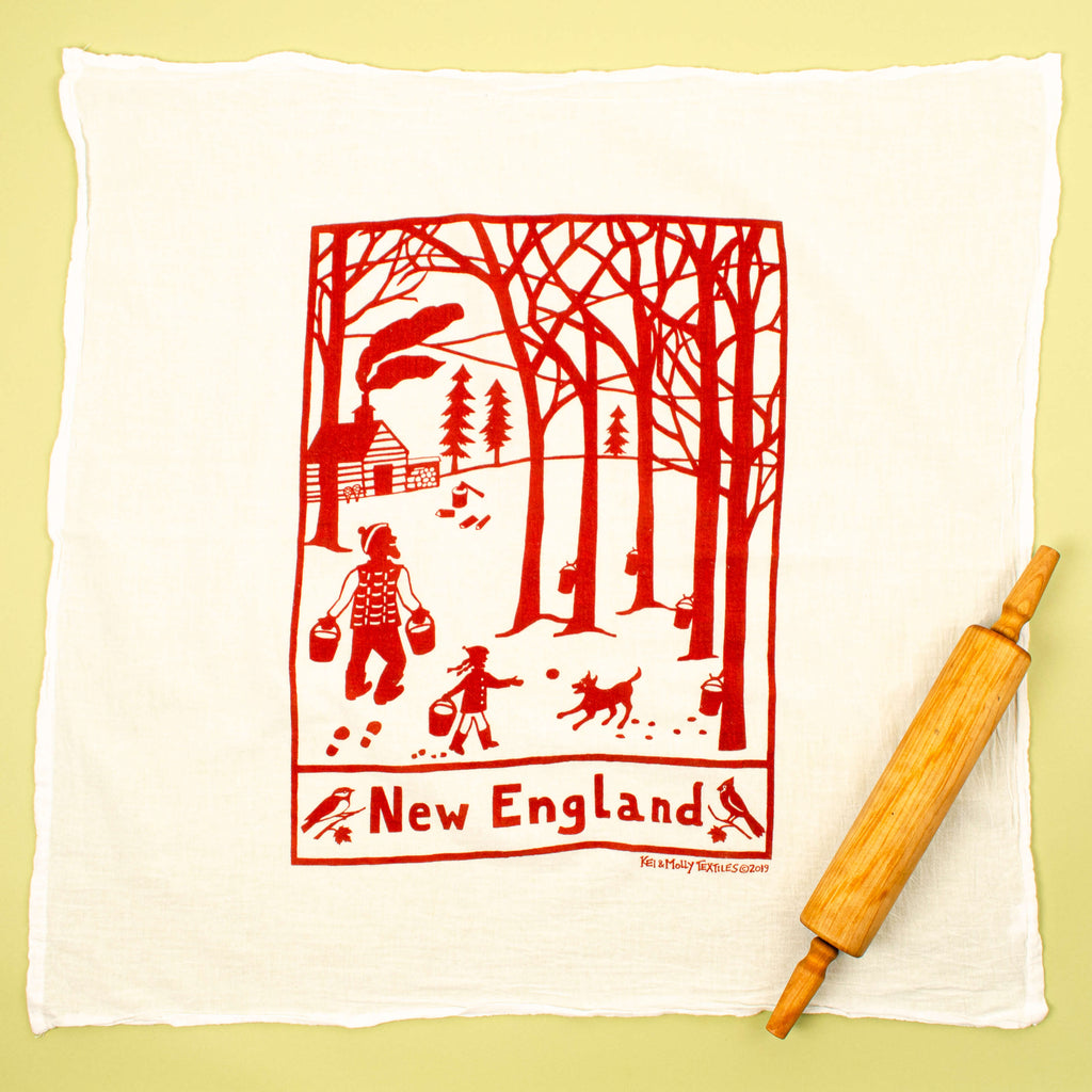 Kei & Molly New England Flour Sack Dish Towel in Rust Full View