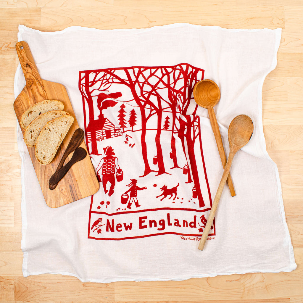 Kei & Molly New England Flour Sack Dish Towel in Rust with Props