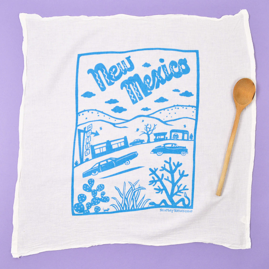 Kei & Molly New Mexico Flour Sack Dish Towel in Turquoise Full View