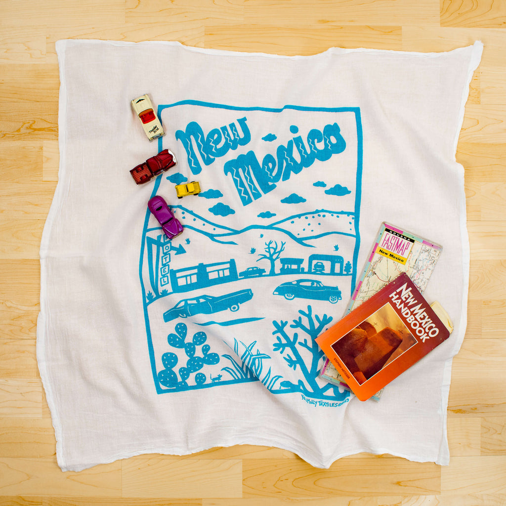 Kei & Molly New Mexico Flour Sack Dish Towel in Turquoise with Props