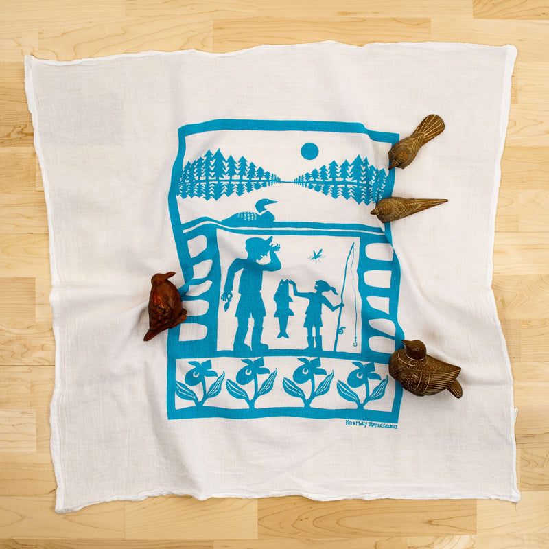 Kei & Molly Northwoods Flour Sack Dish Towel in Turquoise with Props