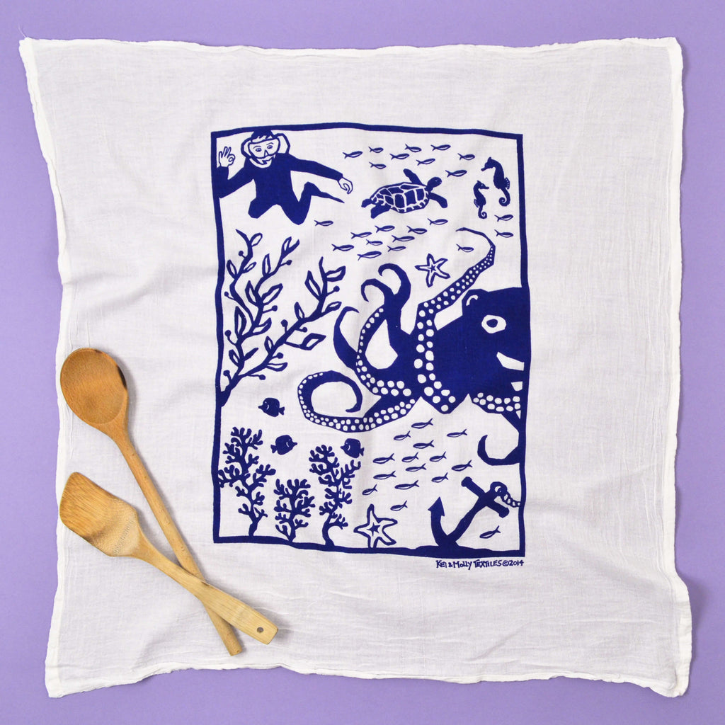 Kei & Molly Octopus Flour Sack Dish Towel in Navy Full View