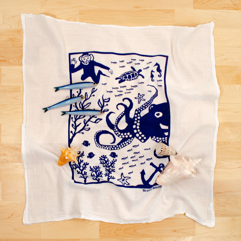 Kei & Molly Octopus Flour Sack Dish Towel in Navy with Props