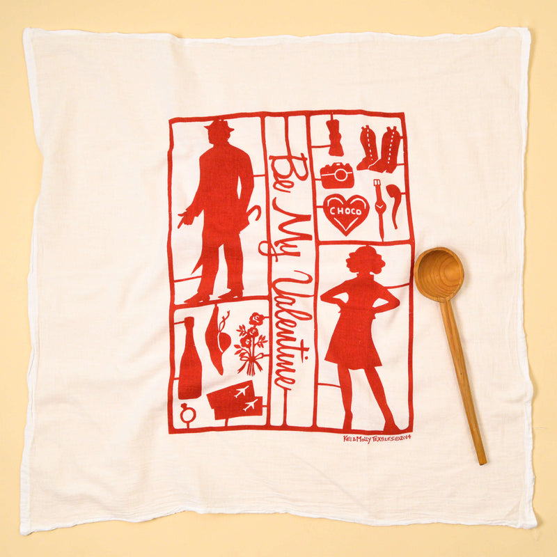 Kei & Molly Paper Dolls Flour Sack Dish Towel in Red Full View