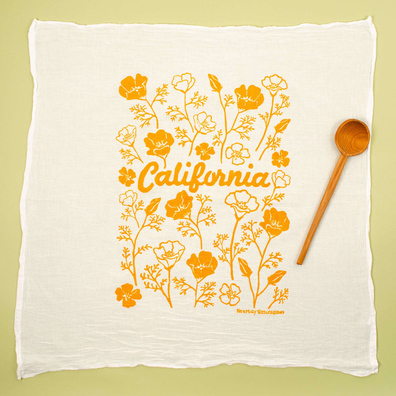 Kei & Molly California Poppies Flour Sack Dish Towel in Squash Full View