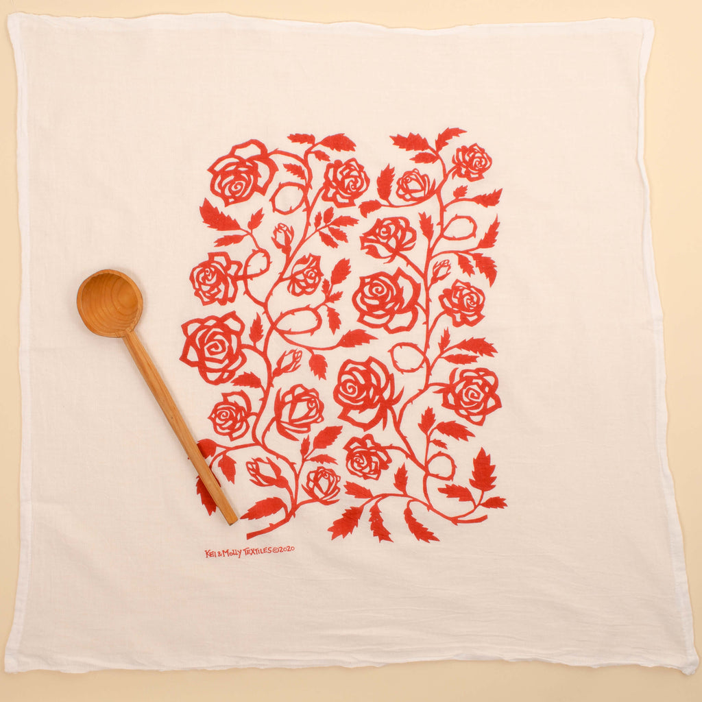 Kei & Molly Roses Flour Sack Dish Towel in Red Full View