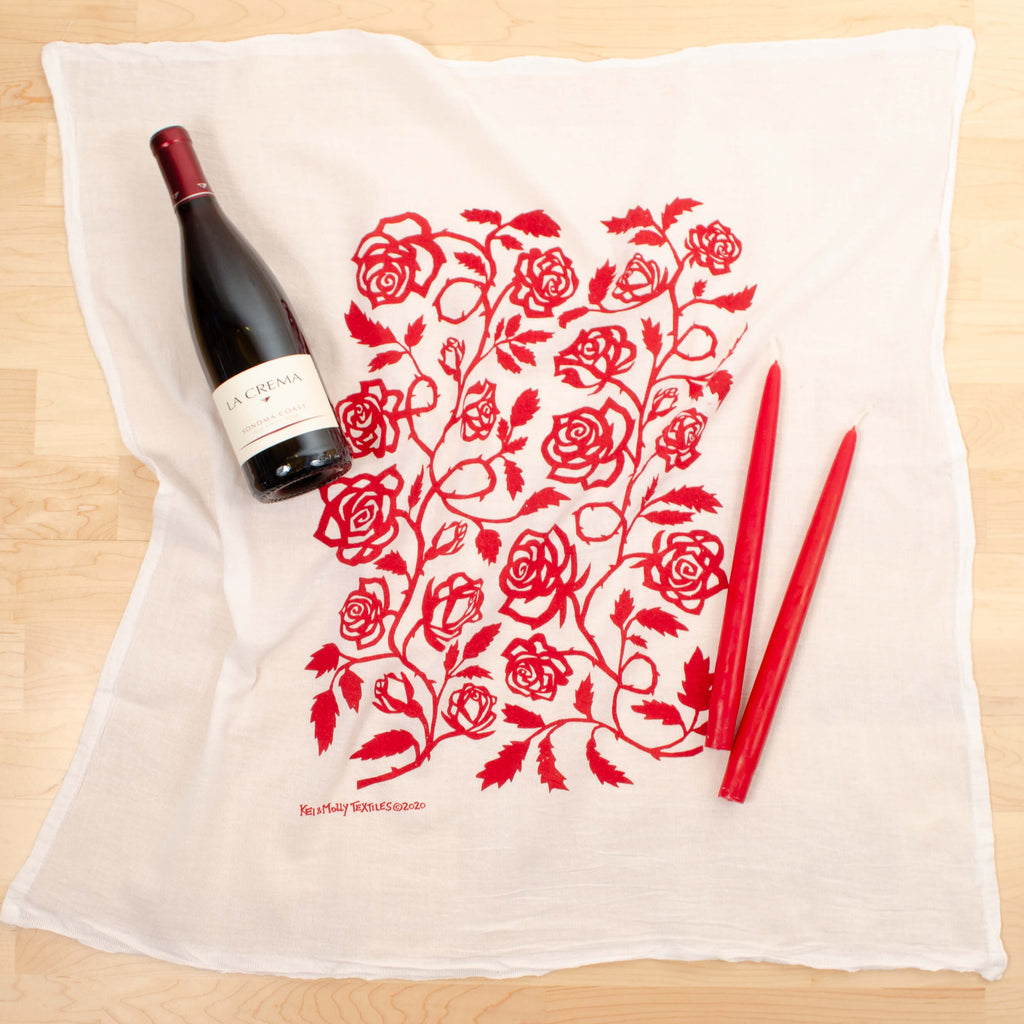 Kei & Molly Roses Flour Sack Dish Towel in Red with Props