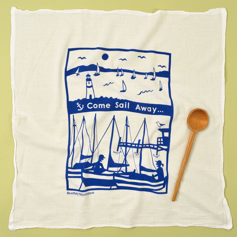 Kei & Molly Sail Away Flour Sack Dish Towel in Marine Blue Full View