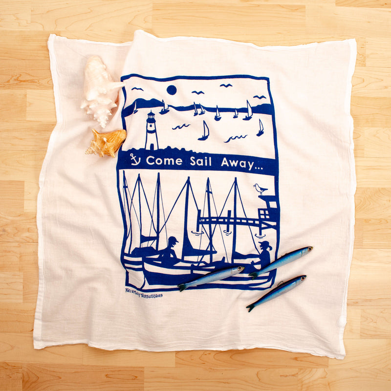 Kei & Molly Sail Away Flour Sack Dish Towel in Marine Blue with Props