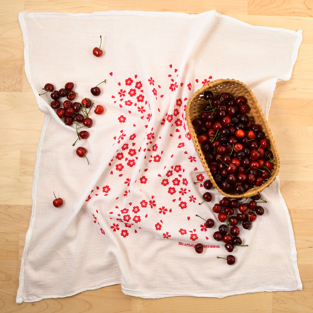 Kei & Molly Sakura Flour Sack Dish Towel in Raspberry with Props