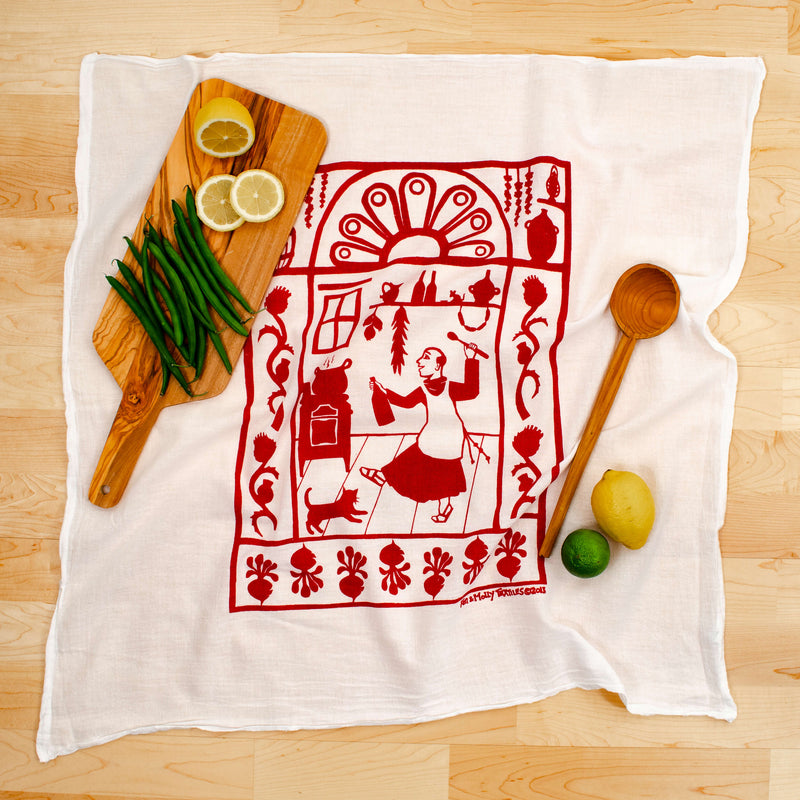 Kei & Molly San Pascual Flour Sack Dish Towel in Red with Props