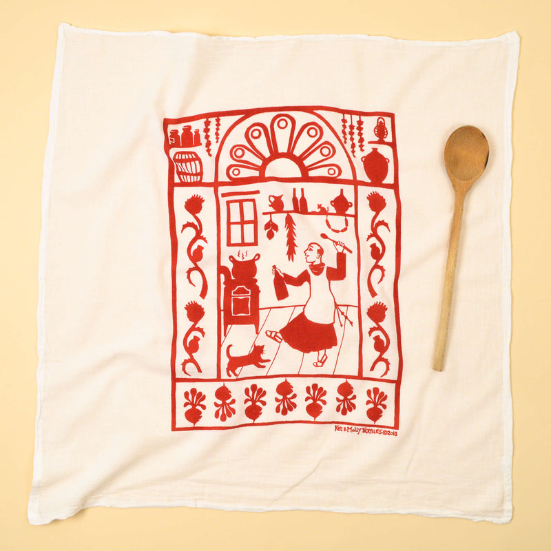 Kei & Molly San Pascual Flour Sack Dish Towel in Red Full View