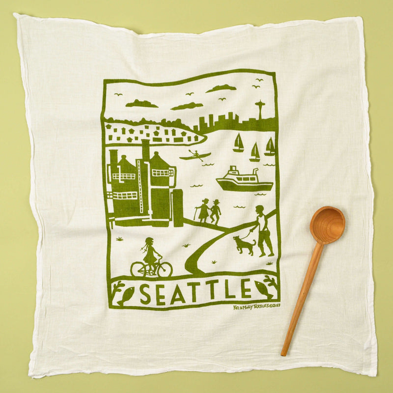 Kei & Molly Seattle Flour Sack Dish Towel in Green Full View
