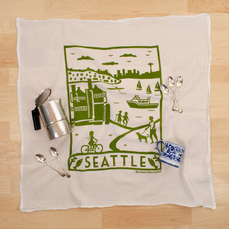 Kei & Molly Seattle Flour Sack Dish Towel in Green with Props