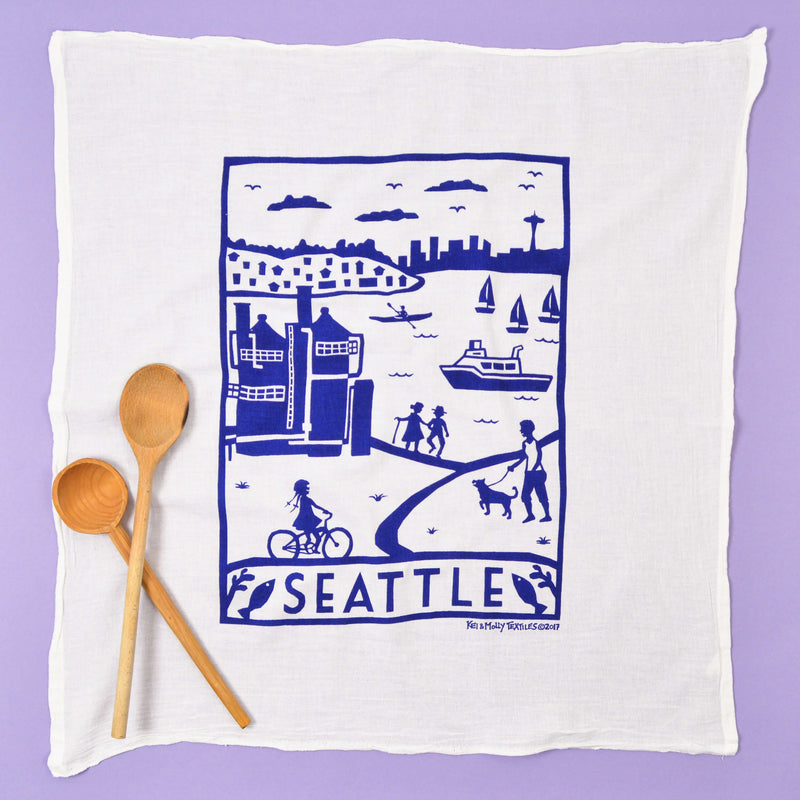 Kei & Molly Seattle Flour Sack Dish Towel in Navy  Full View