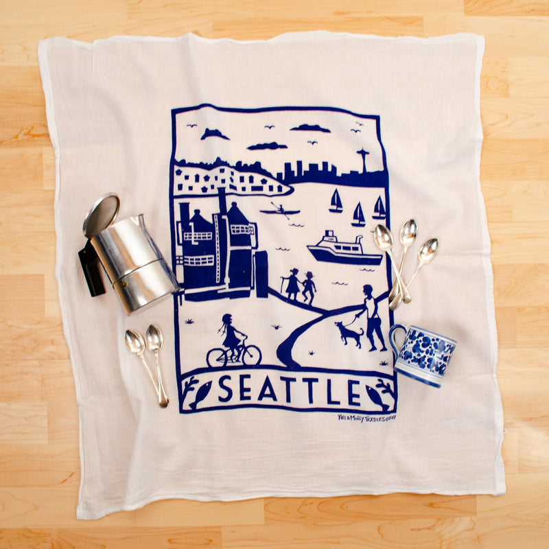 Kei & Molly Seattle Flour Sack Dish Towel in Navy with Props