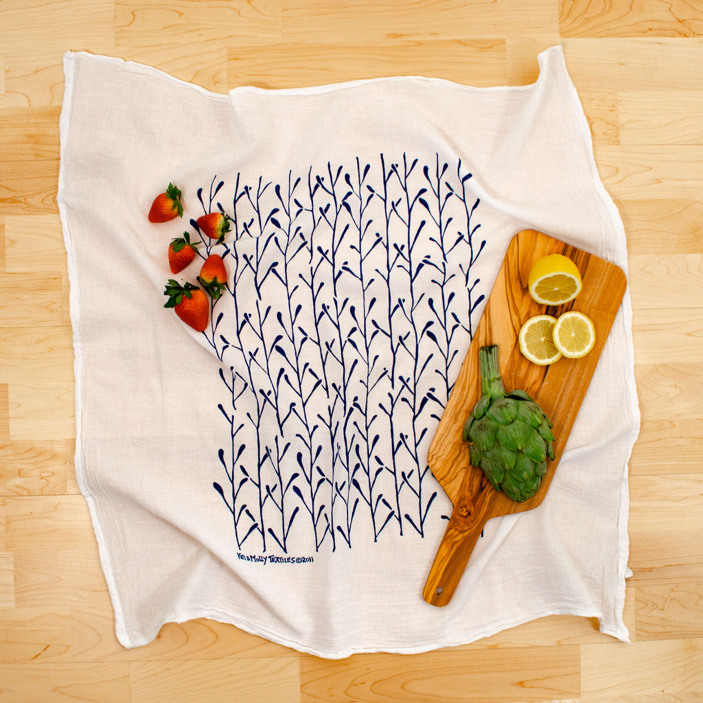 Kei & Molly Stems Flour Sack Dish Towel in Indigo with Props