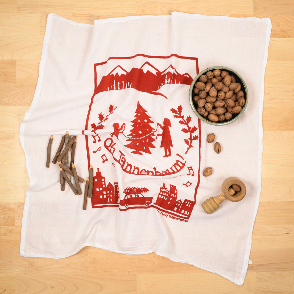 Kei & Molly Tannenbaum Flour Sack Dish Towel in Red with Props