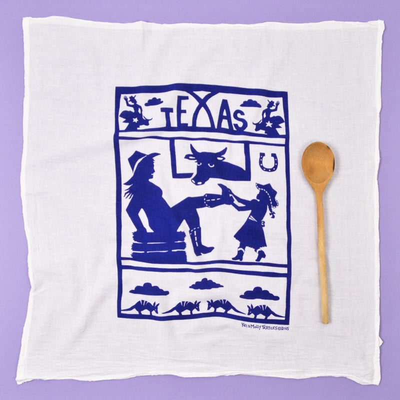 Kei & Molly Texas Flour Sack Dish Towel in Navy Full View