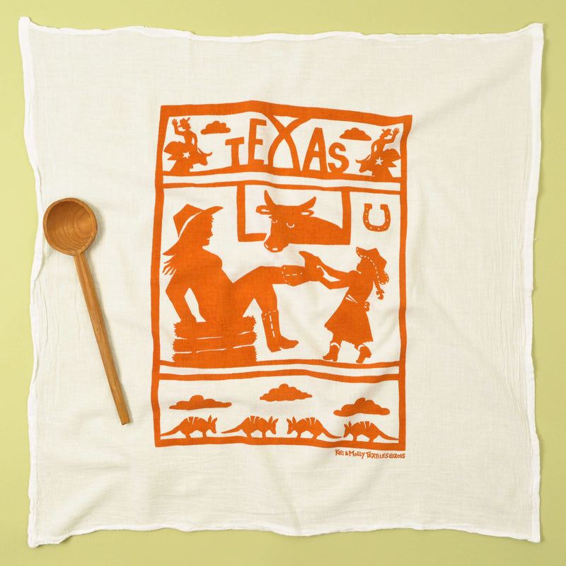 Kei & Molly Texas Flour Sack Dish Towel in Orange Full View