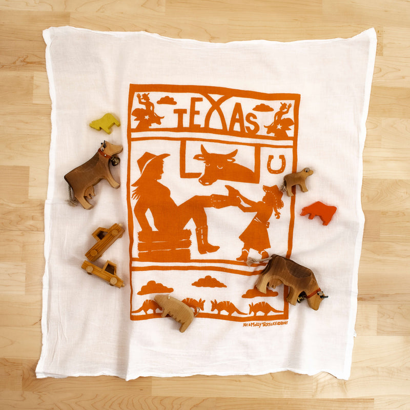 Kei & Molly Texas Flour Sack Dish Towel in Orange with Props