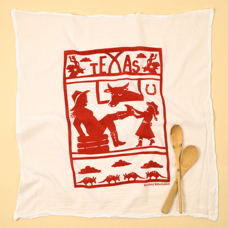 Kei & Molly Texas Flour Sack Dish Towel in Red Full View