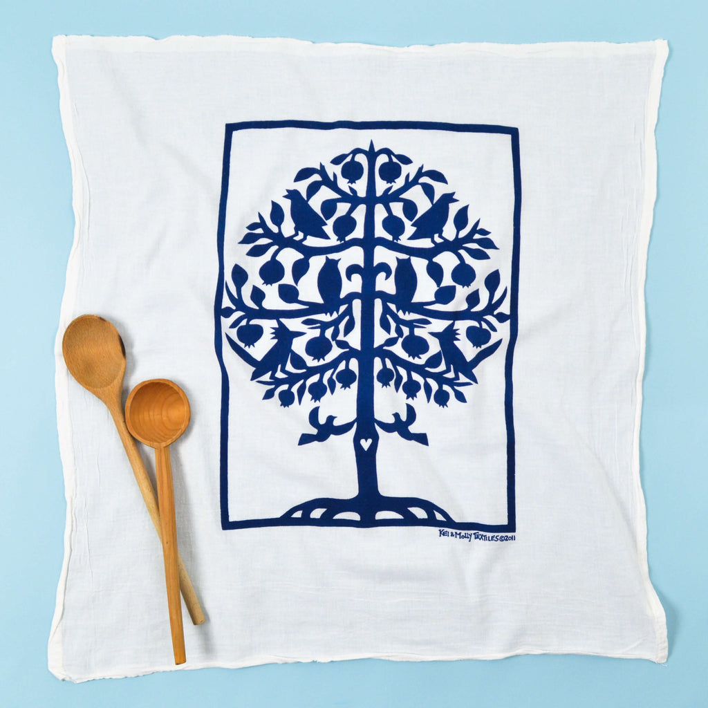 Kei & Molly Tree of Life Flour Sack Dish Towel in Indigo Full View