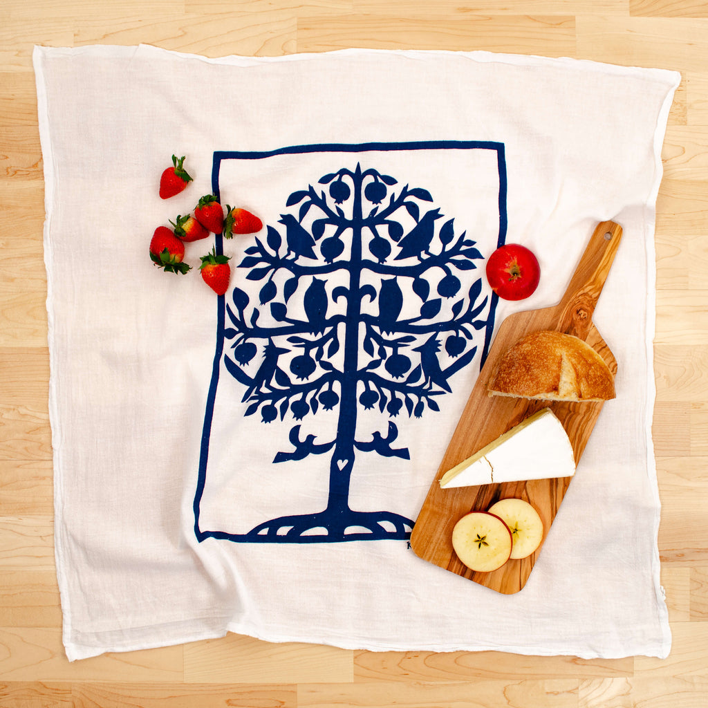 Kei & Molly Tree of Life Flour Sack Dish Towel in Indigo with Props