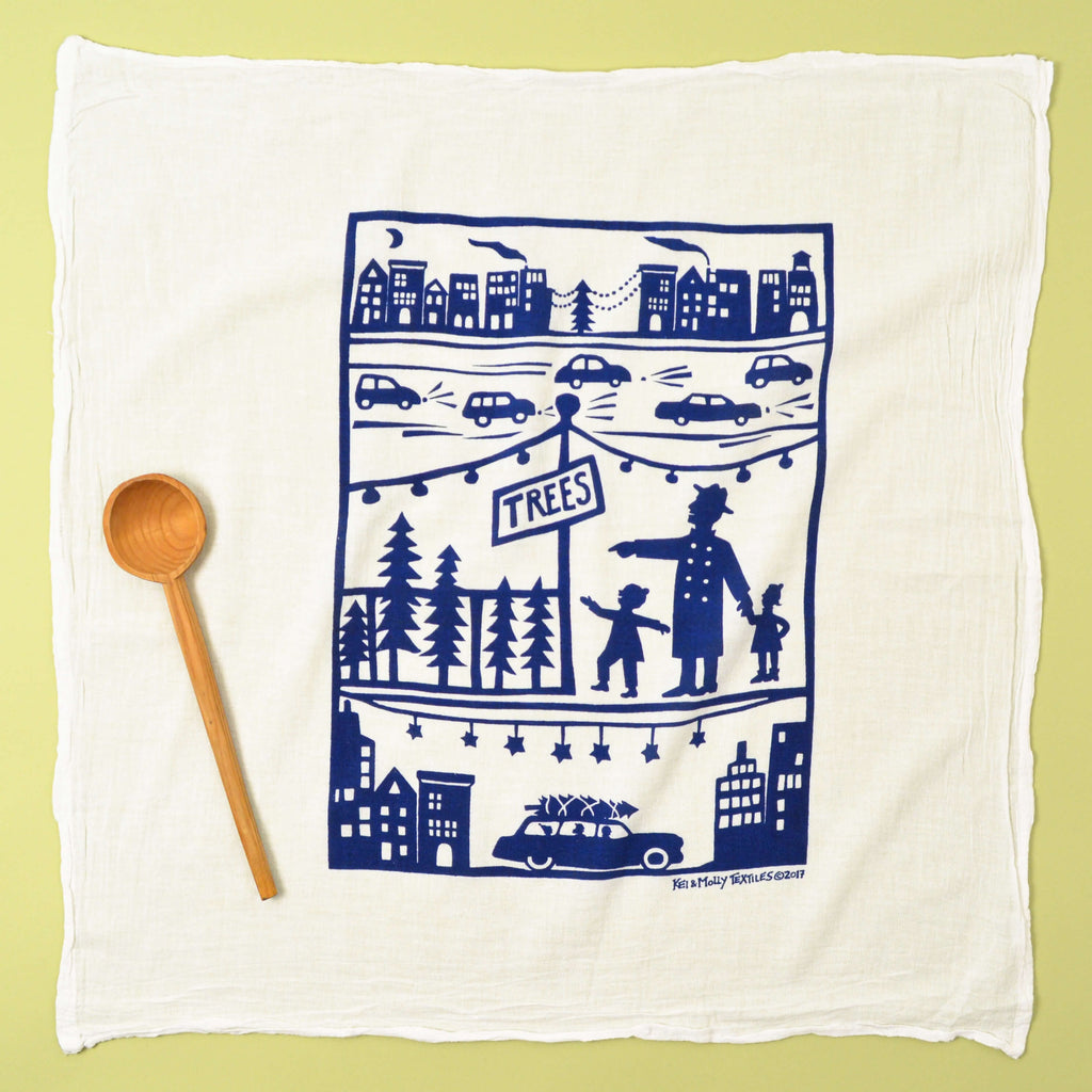 Kei & Molly Urban Christmas Flour Sack Dish Towel in Indigo Full View