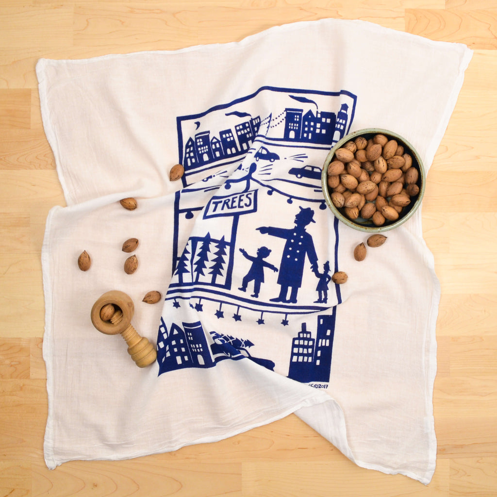 Kei & Molly Urban Christmas Flour Sack Dish Towel in Indigo with Props