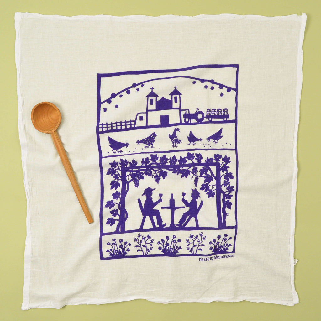 Kei & Molly Vineyard Flour Sack Dish Towel in Purple Full View