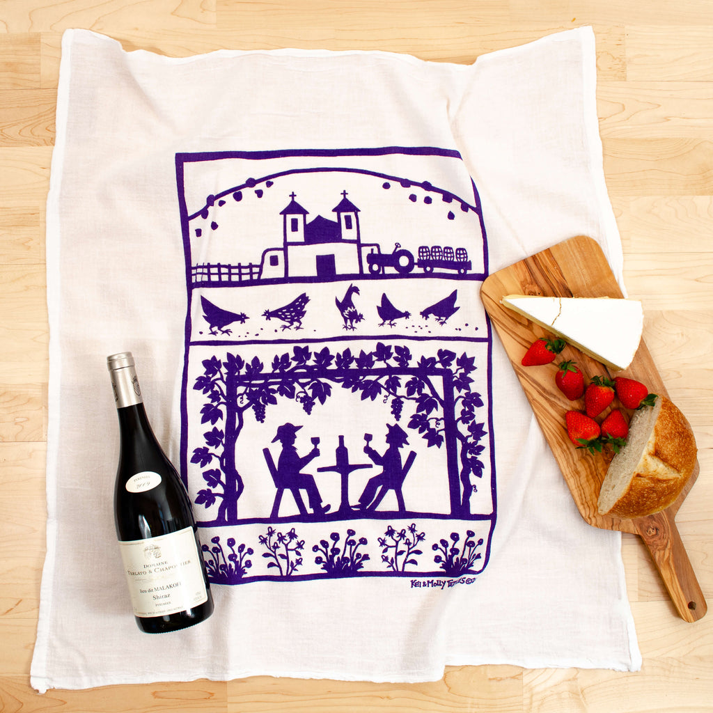 Kei & Molly Vineyard Flour Sack Dish Towel in Purple with Props